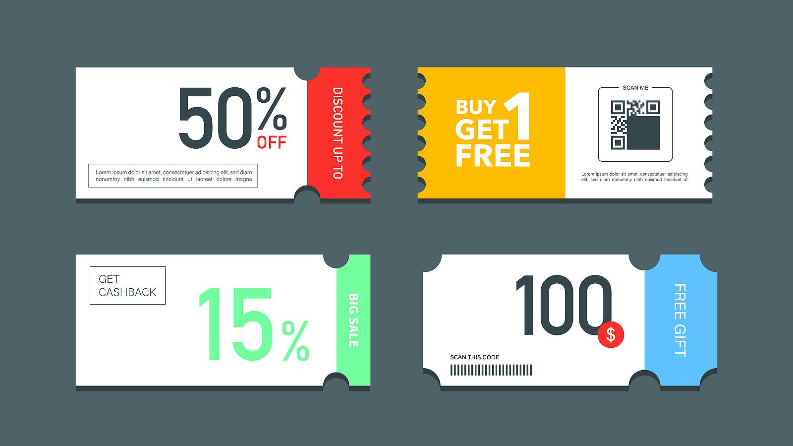 Set Of Coupon Promotion Sale For Website, Internet Ads, Social M